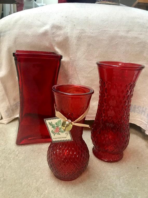 Vintage Vases Red Glass Vases Set Of 3 Red Glass Vases Etsy