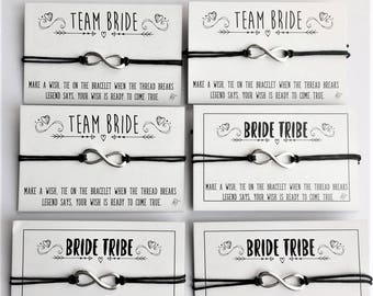 Classy Hen Party Favours - Bride Tribe - Team Bride - Wish Bracelet (x1, x10, x20)