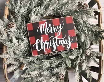 buffalo plaid christmas decor merry christmas christmas sign farmhouse christmas decor rustic christmas sign