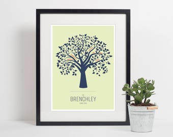 Personalised Family Tree A3 Print