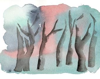 Forest blue. Original watercolor