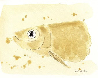 Yellow sardine. Original watercolor