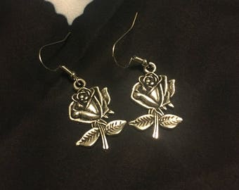 Beauty and the Beast Inspired Silver Rose Earrings