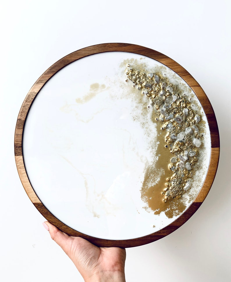 Pre-order similar original custom handmade round epoxy resin finish vanity or serving tray on wood for home table decoration SOLD
