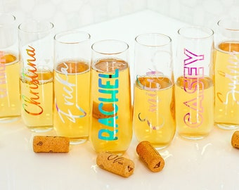 Bridesmaid Champagne Glass | Personalized Name Champagne Flute