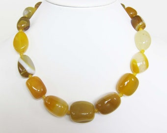 20 inch Graduated Chunky Yellow Agate Necklace