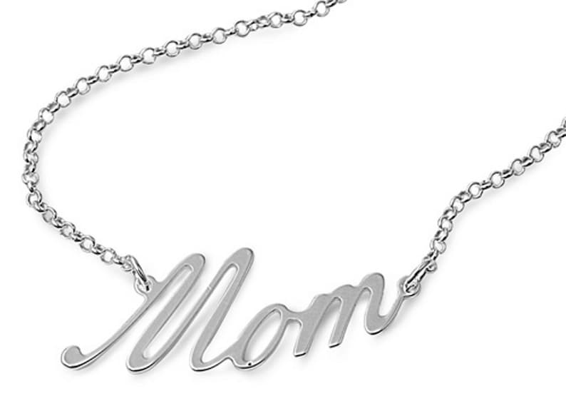 925 Solid Sterling Silver Mom Script Necklace 17 Mother