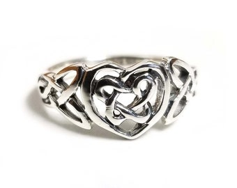 Solid 925 Sterling Silver Celtic Heart Ring Irish