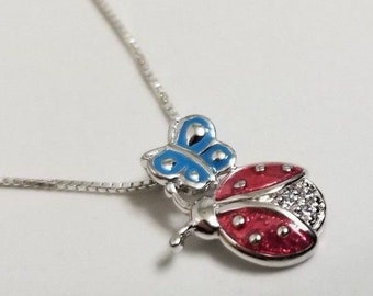 925 Sterling Silver Ladybug and Butterfly CZ Necklace