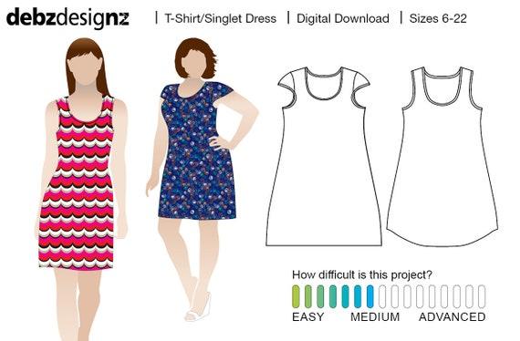 T Shirt/Unterhemd Kleid Strick/Strecke Schnittmuster für | Etsy