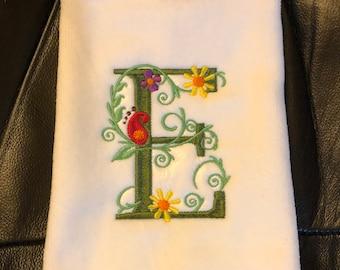 Embroidered Monogram Fingertip Towel