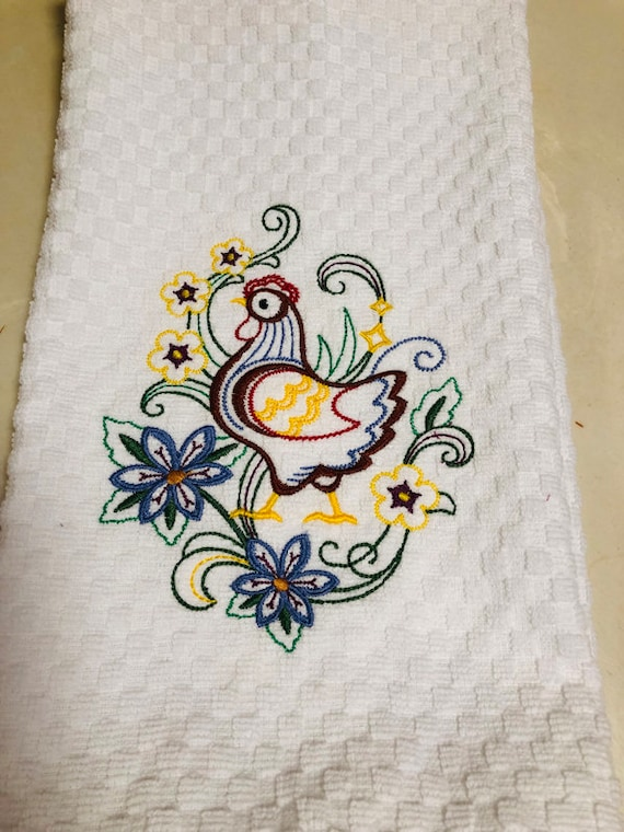 Kitchen Towels Embroidered Tea Towels Hens And Flowers Etsy