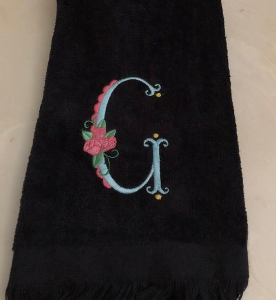 Rose Embroidered Towels: Embroidered Fingertip Towel Monogrammed Towels With Rose
