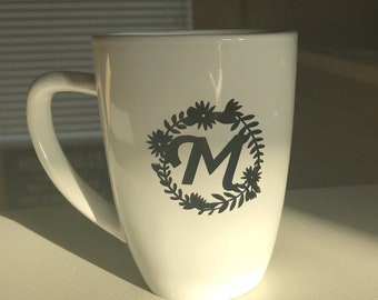 monogram mug etsy