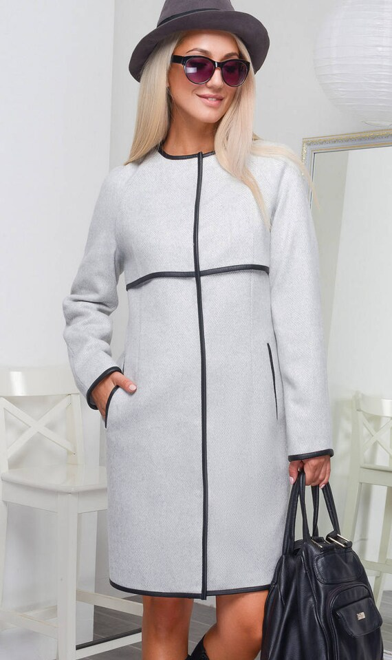Spring coat Coats for women Gray coat Gray wool coat Spring  15dbb5d80