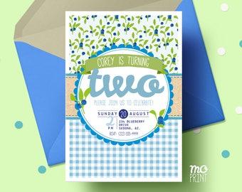 Blueberry Birthday Invitation - Picnic theme - blueberry invitation - blueberry party - picnic invitation 5x7 invite - printable digital