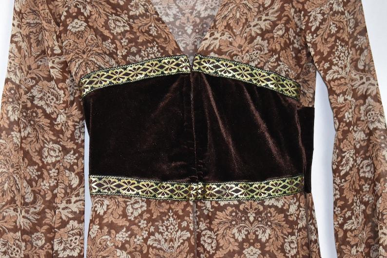 Vintage Sole Mio 1990s bohemian boho top robe loose panel skirt small sheer drown floral print grunge scene metallic gold ribbon trim