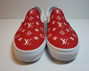 b5d6a2417f2567 LV x Supreme Vans Slip On Sneakers CUSTOMIZABLE HEEL (Multiple sizes +  colors!)