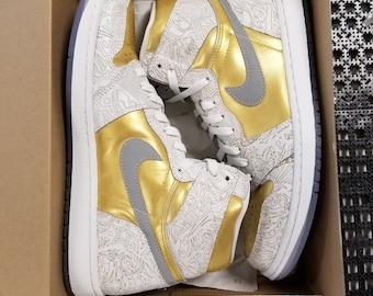 62a7a33996e5 Air Jordan 1 Laser Detail Custom Gold Blooded