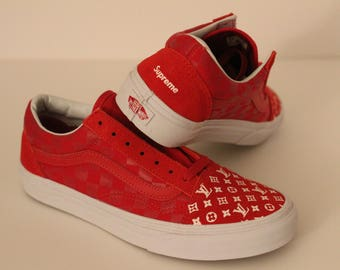 38a2792d7a4 LV x Supreme Vans Old Skool Tonal Custom Mini Monogram Louis Vuitton Shoes