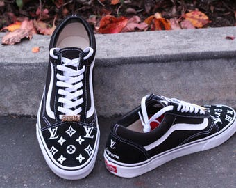 LV x Supreme Vans Old Skool Tonal Check Custom Shoe Louis  4a7546584