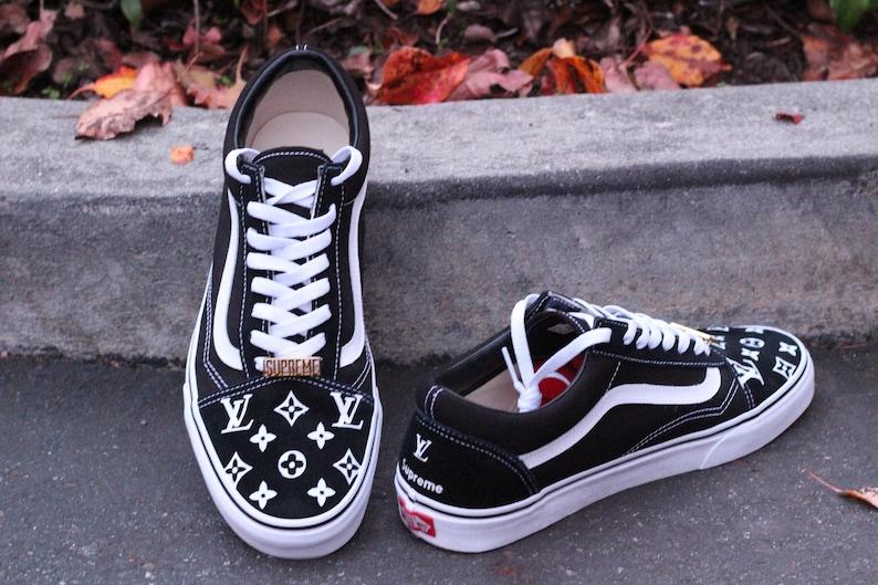 f2eaeaf9a2c LV x Supreme Vans Old Skool Custom Shoe