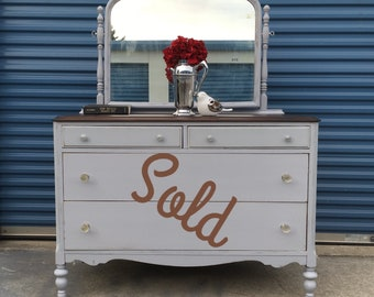 SOLD Gray Antique Dresser