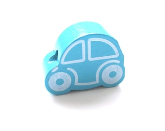 Small car - Turquoise wooden bead