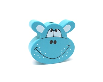 Head of Hippo Turquoise wooden bead