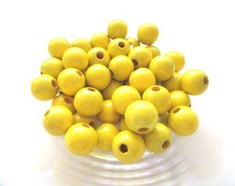 25 Perles en bois pour Attache Tétine 12mm - Jaune