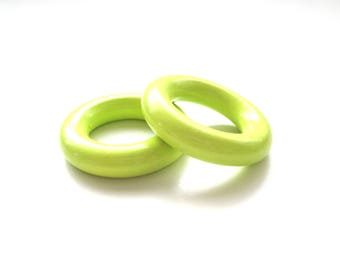 35mm lime green wooden ring