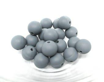 10 12mm - dark grey Silicone beads