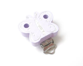 Wooden pacifier - purple Glitter Butterfly clip