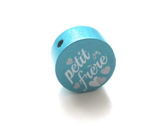 Little brother Turquoise wooden bead