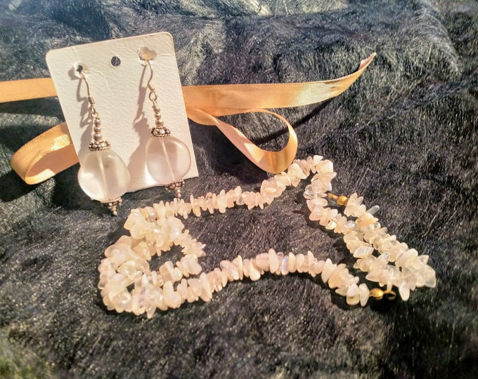 925 silver earrings and genuine vintage rock crystal necklace from the 70s for women