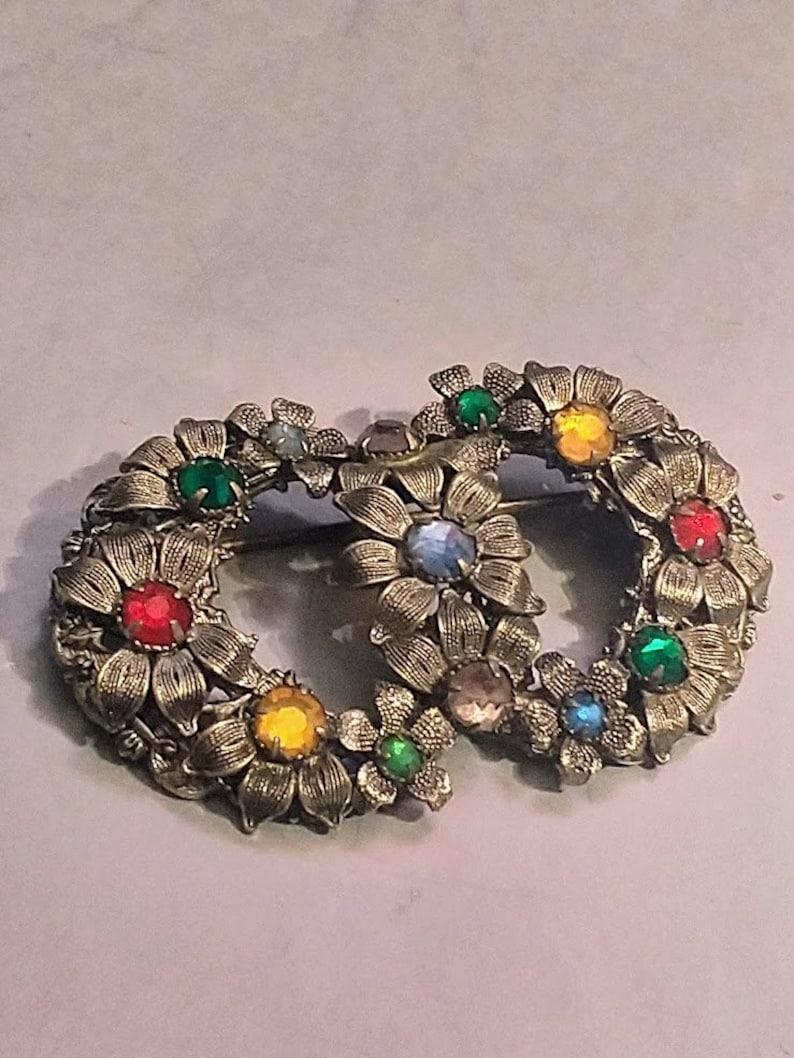 green rhinestones women yellow vintage Art Deco Czech Metal silver filigree floral brooch red 1940s-1950s Czechoslovakian Art