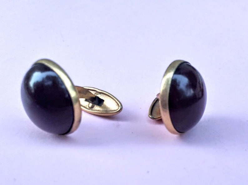 amber jewelry for women vintage 60-s Baltic Genuine amber and brass cufflinks beautiful color of plum