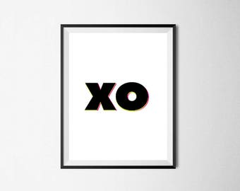 XO / Home Decor / Digital Prints / Wall Art / Printable Art / Instant Download / Black and White / Poster / Minimalist / Typography / Gift