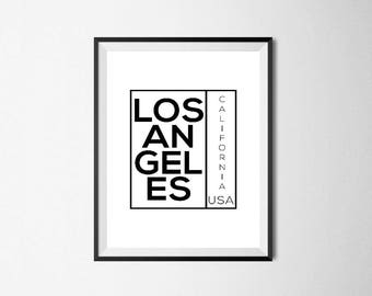 Los Angeles / Digital Prints / Wall Art / Printable Art / Instant Download / Black and White / Poster / Minimalist / Typography / Gift