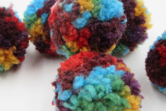 "10 Blue /& Green 35mm or 1.5/"" Rainbow Craft Pom PomsFluffy Acrylic Pompoms"
