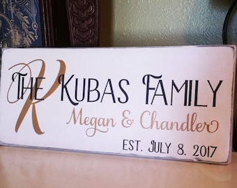 Personalized Family Name Sign, Handpainted, Distressed, Established Sign