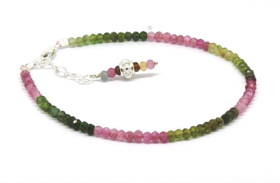 "Watermelon Tourmaline Sterling Silver Bracelet 3 MM Beads 7.5"" 6.5"" +1"" Gemstone Fine Jewelry Birthday Gift Anniversary Mothers Day Gift"