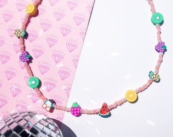 fruit necklace, seed bead necklace, seed bead choker, Y2K jewelry, Y2K necklace, kidcore necklace, kidcore aesthetic, beaded choker,