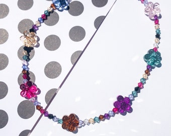 flower necklace, beaded necklace, beaded choker, Y2K jewelry, Y2K necklace, kidcore necklace, kidcore aesthetic, beaded choker,