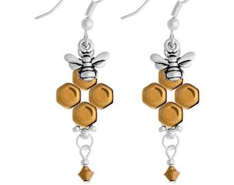 Honeybee Earrings Kit with Swarovski Crystals - Gold