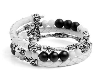 Bracelet Kit Calypso Leather Wrap Bracelet with Gemstones - White
