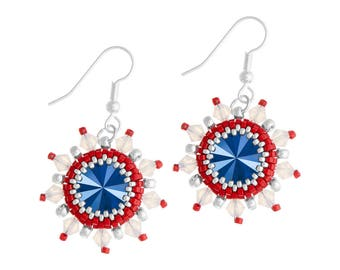 Earrings Kit Arabian Star with Swarovski® Crystals - Red/Blue