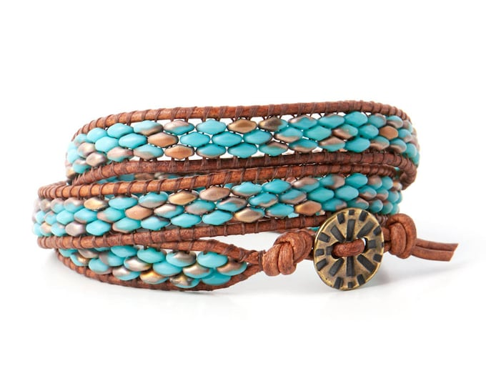 Featured listing image: Rushing Creek 3-Wrap DIY Bracelet Kit with Button Closure - Turquoise
