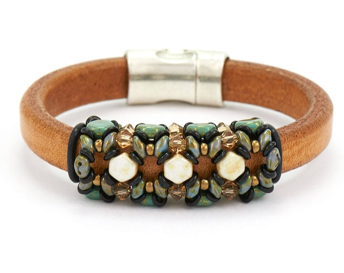 Featured listing image: Bracelet Kit Blue Nile Honeycomb with Swarovski® Crystals – Cream/Green