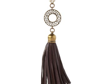 Necklace Kit Amalfi Leather Tassel - Brown and Antique Brass